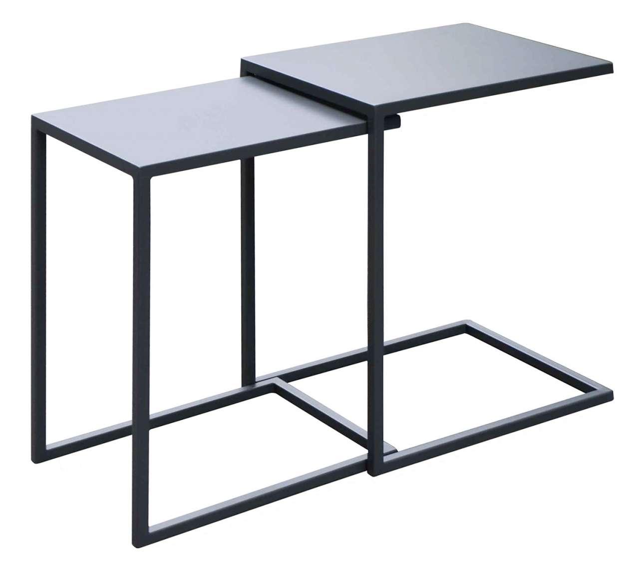 moebel-jack.de Garten-Beistelltisch, 2-tlg. Grau, Aluminium, Universal