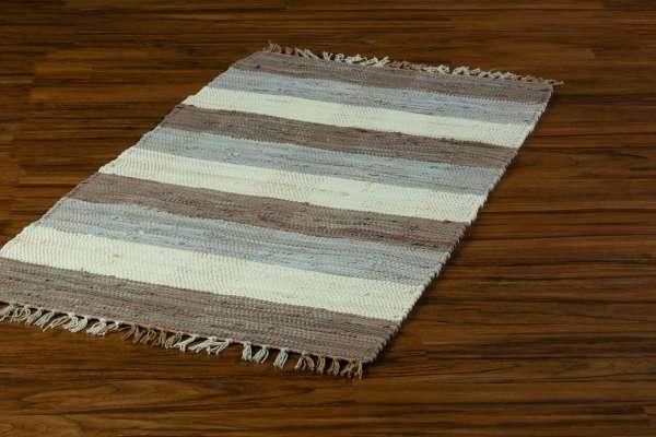 Teppich RIEKA 4, Baumwolle, Braun-Beige-Grau, handgewebet (BxHxT) 50x100 cm