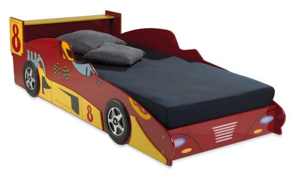 Bett Kinderbett Autobett SEBASTIAN, Rot Rennwagen, 90x200 cm