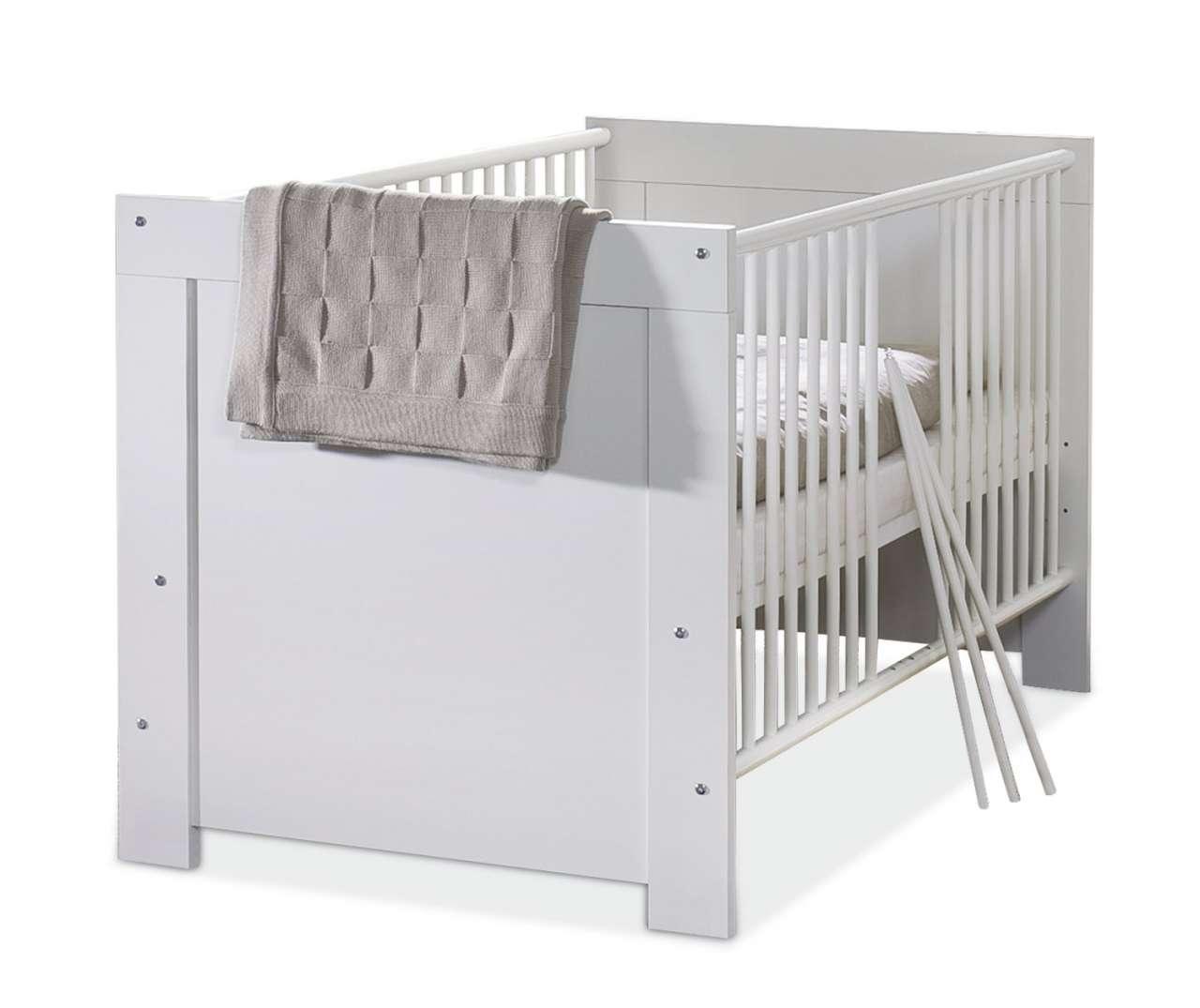 moebel-jack.de Babybett NORA, Weiß matt Dekor, 70x140 cm