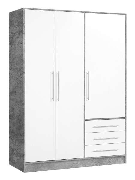 Kleiderschrank B 145 cm, Weiß Beton, 3 Türen & 3 Schubladen