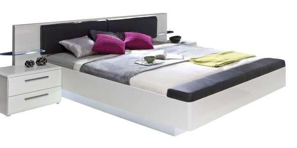 Bett MADRANO 32, B 180 x L 200 cm, Weiß Hochglanz, inkl. Beleuchtung
