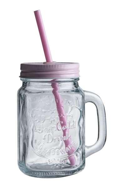 Glas Trinkglas ZALINA, Rose mit Deckel & Röhrchen, ca. 480 ml