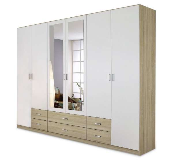 gro er kleiderschrank in wei eichedekor mit spiegel claudio 2 m bel jack. Black Bedroom Furniture Sets. Home Design Ideas