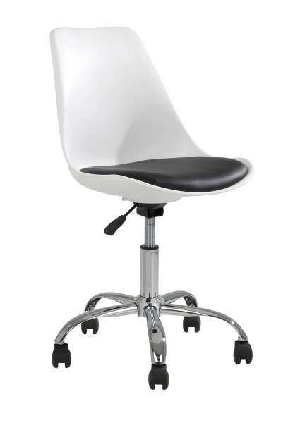 Drehstuhl, Schreibtischstuhl BIANKA, schwarz, weiß, höhenverstellbar