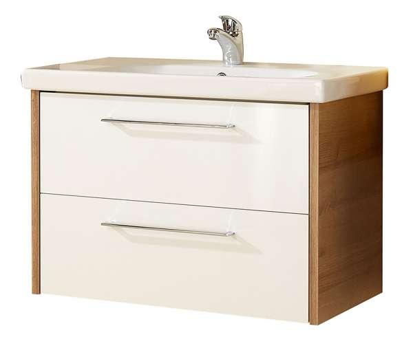 Waschbeckenunterschrank TIDY 1, B 77 cm, Eiche Riviera-Weiß Hochglanz