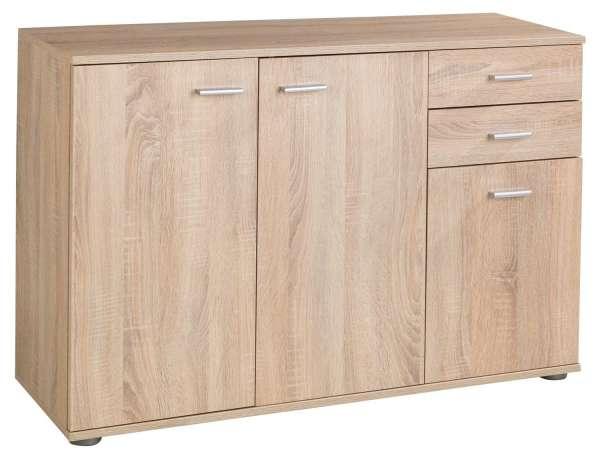 Kommode, Eiche Sonoma, B 106 x H 76 cm, 3 Türen und 2 Schubladen
