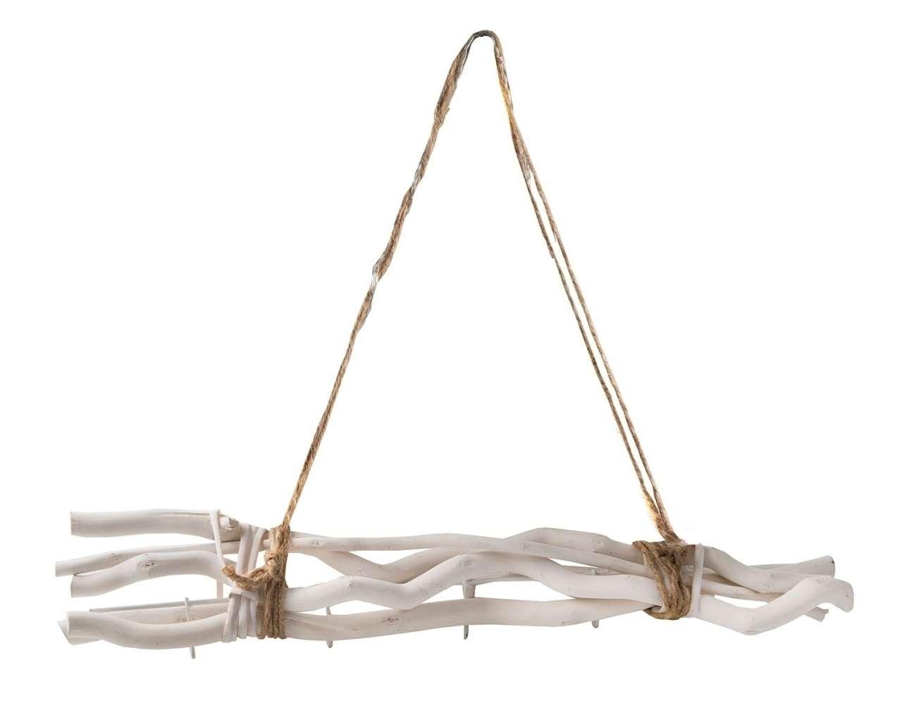 moebel-jack.de Hakenleiste PEDER, Äste Weiß lackiert, 5 Haken, mit Seil zum Hängen
