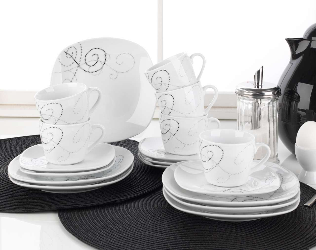 moebel-jack.de Kaffeeservice 18tlg. ANGELO, Weiß mit Dekor Schwarz/Grau