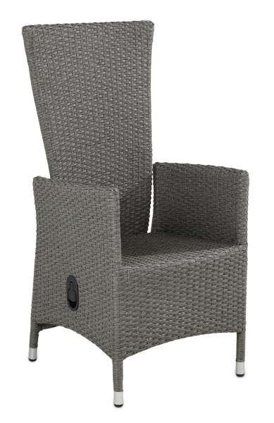 Stuhl, Korbessel, Gartensessel, Gartenstuhl BRIDGE 2, Grau verstellbar