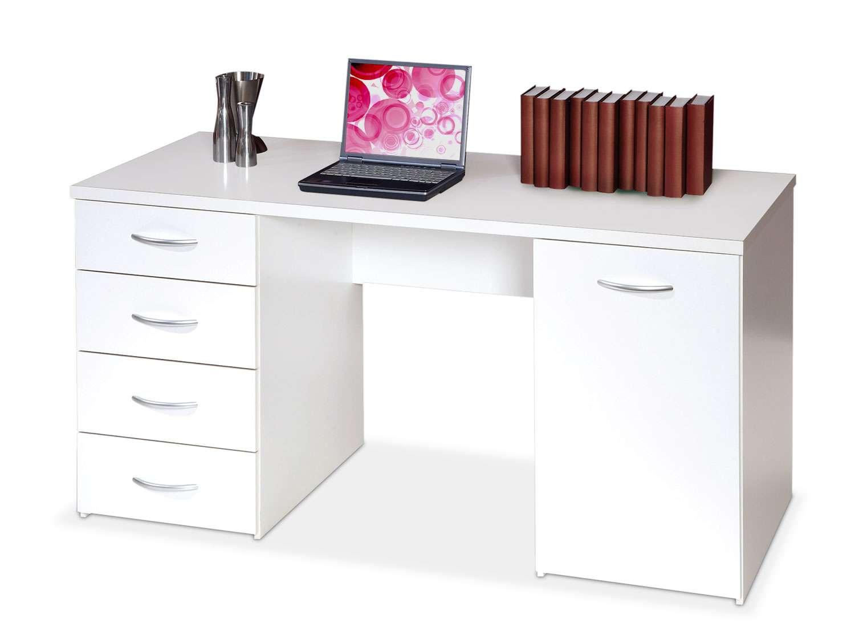 Schreibtisch weiß mit schubladen  Schreibtisch CORRIE in weißem Dekor, 1 Türe, 4 Schubladen, ca ...