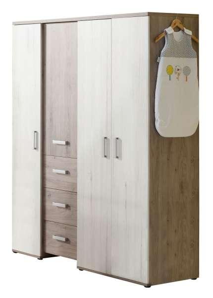 Kleiderschrank MICHL mit 4 Türen & 3 Schubkästen