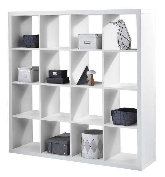 Regal Raumteiler Raumteilerregal, Weiß Dekor, 147x147x38 cm