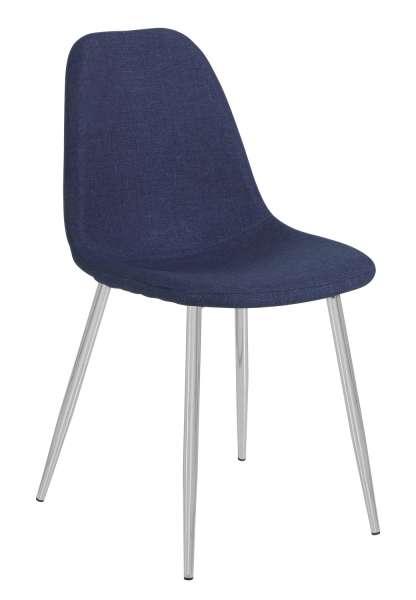 Stuhl, Esszimmerstuhl, Polsterstuhl SOFIE, Stoff, dunkelblau, chromfarbig