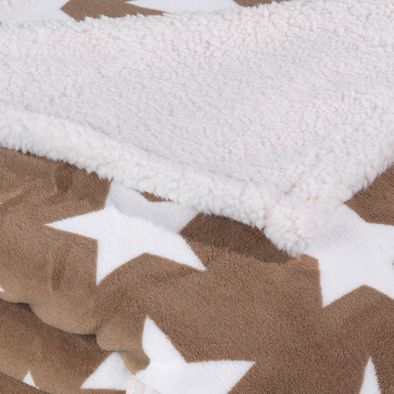 Wende-Kuscheldecke SHEILY 10, Taupe mit Sternen, 150x200 cm