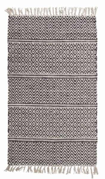 Teppich IKAT 2, Baumwolle, Grau, handgewebt, (BxL) 60x90 cm