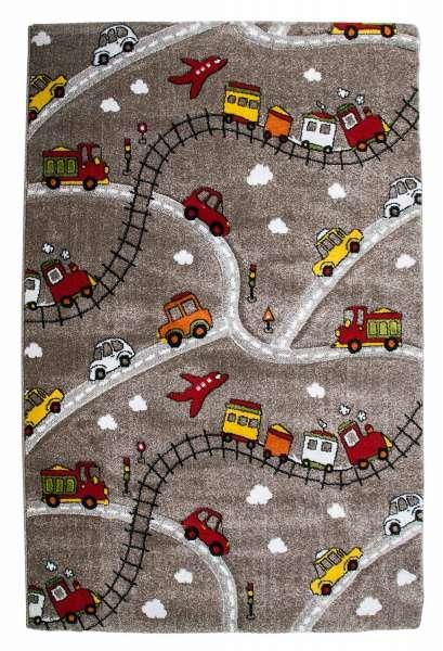 Kinderteppich Spielteppich MOMO, B 133 x L 190 cm, Taupe, Straßen-Motiv
