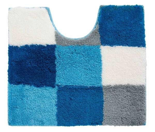 Badematte Badvorleger TIZIANA 44, 50x55 cm, Blau-Türkis-Weiß kariert
