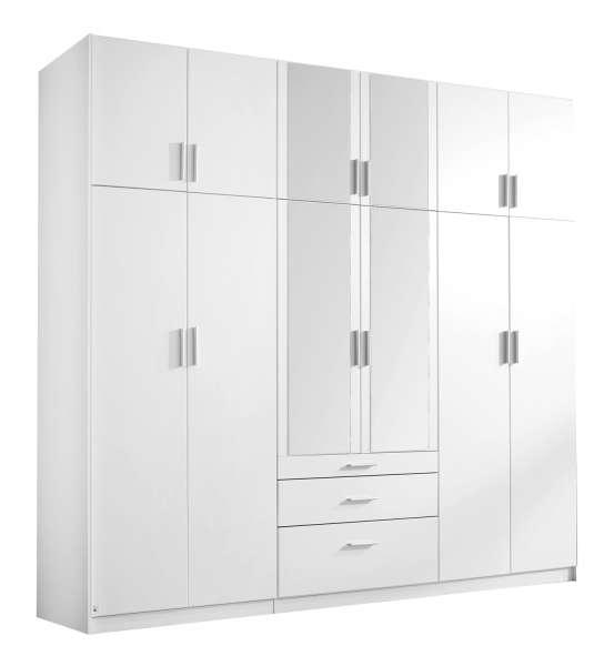 Kleiderschrank 271x229 cm, Weiß mit Spiegel, 3 Schubladen