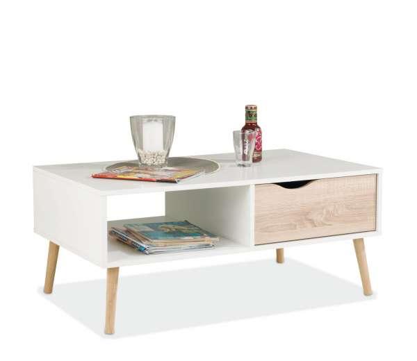 moderner couchtisch in wei eichedekor mit schublade. Black Bedroom Furniture Sets. Home Design Ideas