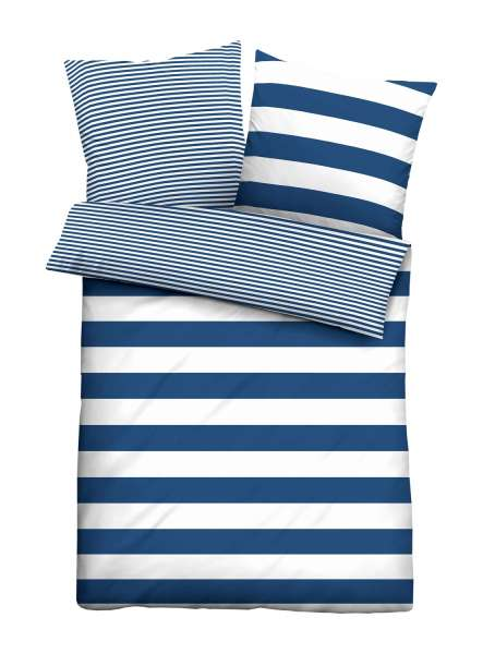Seersucker Bettwäsche Aus Baumwolle In Blau Weiß Mit Reißverschluss