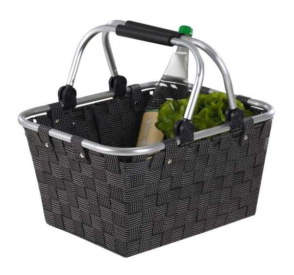 Einkaufskorb, Einkaufstasche Kunststoff, Schwarz, mit Griffen, 40x30x20 cm