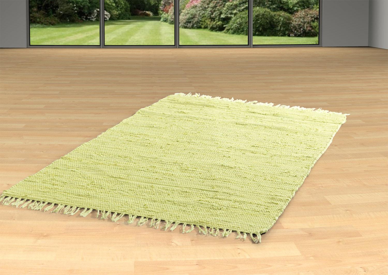 Teppich FRANKEN , apfel-grün, Baumwolle, handgewebt, 80x250 cm