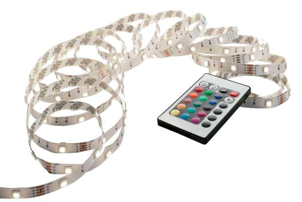 LED-Lichterkette, 3 m Weiß mit Fernbedienung, RGB-Farbwechsler