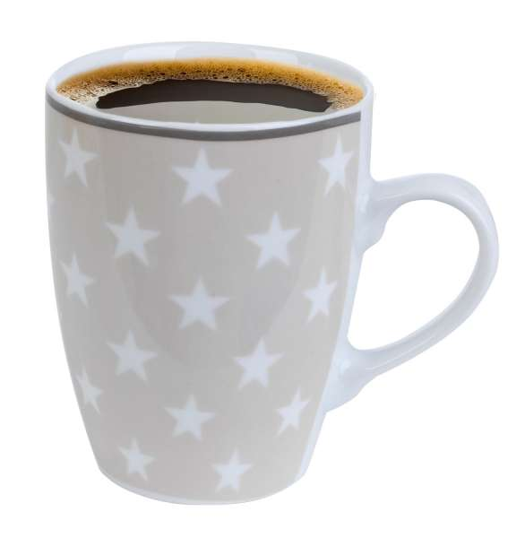 Kaffeetasse Kaffeebecher ILIRIA 10, Porzellan Beige mit Weißen Sternen