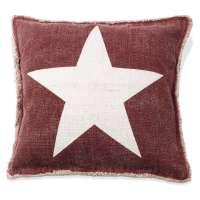Kissenhülle ESTRELLA 1, Rot mit weißem Stern, 50x50 cm