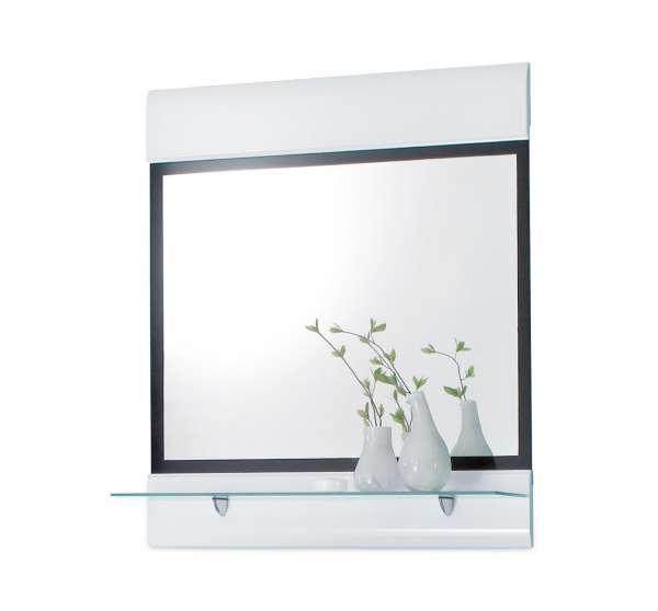 Spiegelpaneel FLEMMING 2, Schwarz,  Weiß Hochglanz
