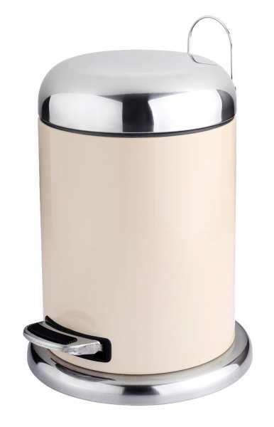 Mülleimer, Treteimer NAPPO 2, 5 Liter, Creme, Metall, mit Kunststoffeinsatz