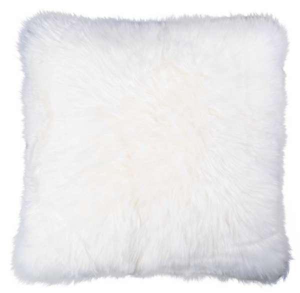 Kissenhülle Kissenbezug 50x50 cm, Weiß, echtes Schaffell