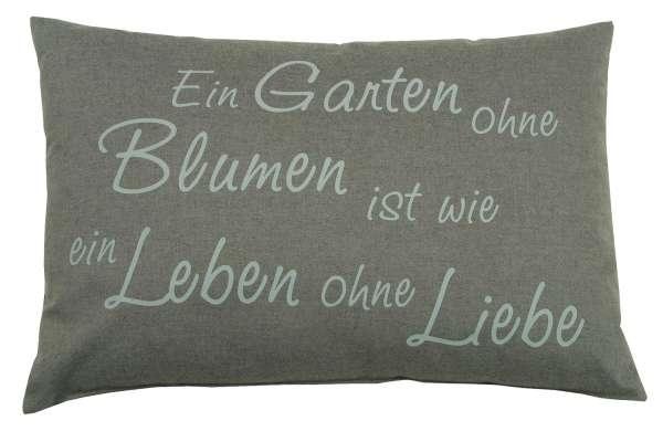 Kissen Sofakissen Dekokissen Grau, 40 x 60 cm, mit Schriftzug