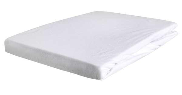 Bettlaken Spannbetttuch BERTINA 1, 180x200 cm, Weiß Baumwolle, Rundumgummi