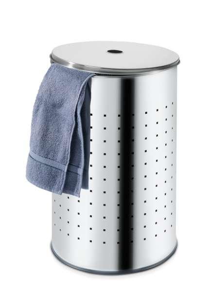 Wäschesammler Wäschebox Wäschetonne BARREL, Edelstahl 54 Liter H 57 cm