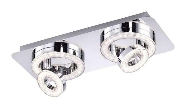 LED-Lampe Deckenleuchte TIM 1, L 40 cm, Chromfarben, Stahl