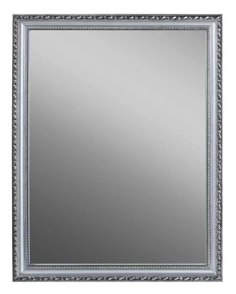 Spiegel LEED, B 34 x H 45 cm, Holzrahmen Silberfarben, inkl. Aufhänger