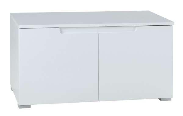 Bank Sitzbank Schuhbank SABIA 5, Weiß hochglanz, 2 Türen, 80x43x40 cm