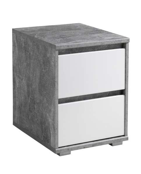 Nachttisch Nachtkommode, Weiß - Beton-Optik, mit 2 Schubladen, 40 x 55 x 48 cm