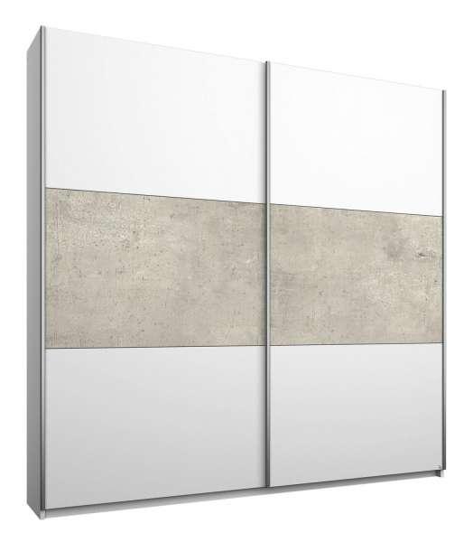Kleiderschrank, Schwebetürenschrank MIGUEL 10, B 175 x H 210 cm, Alpinweiß-Beton Dekor