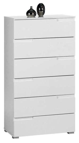 Kommode, weiß hochglanz, 6 Schubkästen, 65x119x40 cm