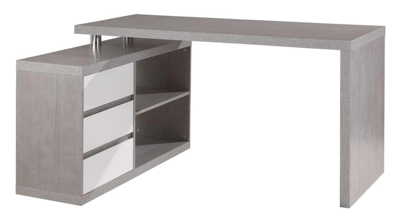 moebel-jack.de Eck-Schreibtisch MIKOSCH 1, 140x115 cm, Weiß Hochglanz, Beton Dekor