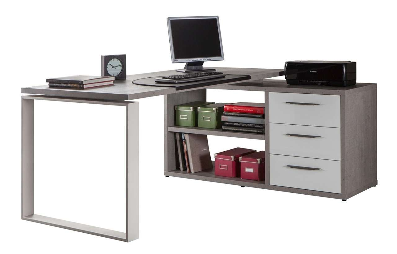 moebel-jack.de Eck-Schreibtisch DELA 19, 170x140 cm, Weiß-Beton, mit 3 Schubladen