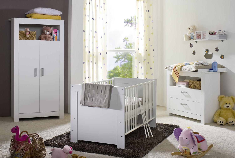 Babybett NORA, Weiß matt Dekor, 70x140 cm