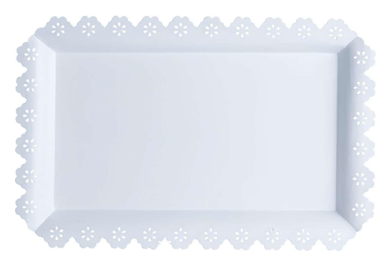 moebel-jack.de Tablett FLORILLA 10, B 46 x T 30 cm, Weiß, Metall