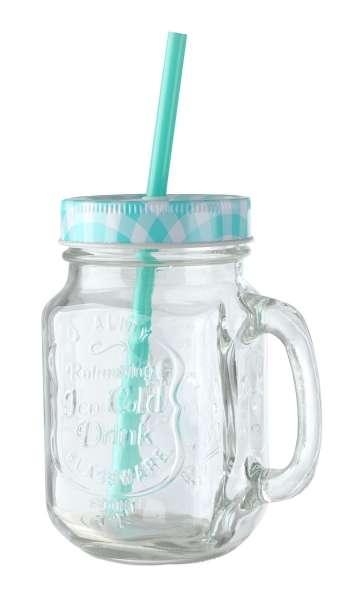 Glas Trinkglas ZARJA 10, Blau mit Deckel & Röhrchen, ca. 480 ml