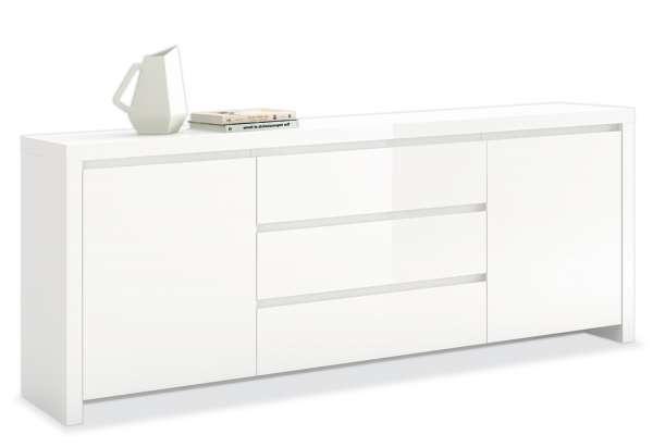 Kommode LEE , weiß hochglanz, 2 Türen, 3 Schubkästen, 190x75x40 cm