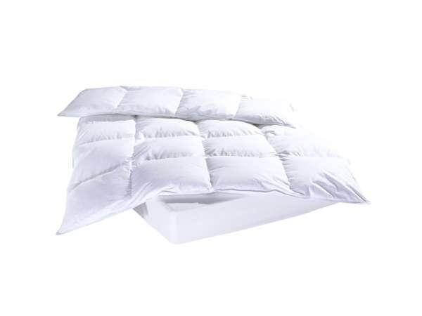 Bettdecke silberweiße Daunen-Federn, 135x200 cm