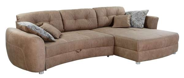 Sofa Couch LEVIN, 325x195 cm, Braun Microfaser, mit Schlaffunktion